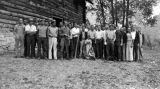 Group of men posed at a Forestry Camp, 1940s