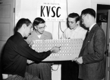 Student staff of the radio station KVSC, including Lee Frischknecht, 1950s
