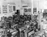 Shop machinery in a classroom, possibly in the Mechanic Arts building