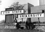 Entrance gates to campus, located on the corner of 900 East and Highway 89, 1960s