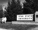 Entrance gate to USU campus located on the corner of 400 North and 700 East, 1960s
