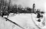 Winter view of campus from the roof of the Domestic Science building, 1920s