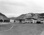 Women's dormitories along the south side of campus, circa 1960
