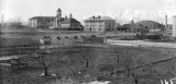 View of campus from the northeast showing the Mechanic Arts building, Old Main, the Model Barn,...