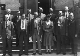 1942 Board of Trustees posed on the west steps of Old Main