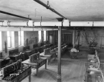 Interior view of wood shop in basement, Old Main, 1893