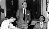 Russell Berston speaking at a legislative budget hearing, 1953