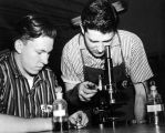 Two students conducting an experiment, 1950s