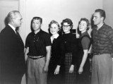 University President Daryl Chase with Mary, Eleanor, Elouise, David C., and Wallace Peterson, 1950s
