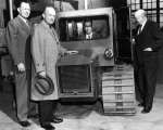 Two USAC presidents, past and present, inspecting the Thiokol Truckmaster, late 1950s