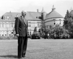 Henry Aldous Dixon on the lawn of Old Main, early 1950s.