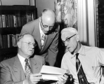 Henry Aldous Dixon, J. E. Christiansen and Frederick Preator receiving scholarships, 1954