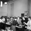 Loan desk in the Merrill Library, 1950s