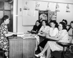 Professor and students in a Health class, 1940s.