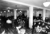Students eating in cafeteria, Family Life building, 1930s