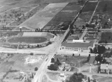 Aerial photo of campus looking west, circa 1942