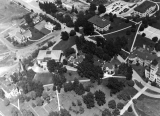 Aerial photo of campus, looking northwest, circa 1942