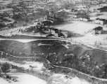 Aerial photo of campus looking northeast, winter 1941