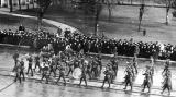 March through downtown Logan of the 145th Field Artillery, 1919