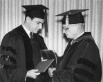 Xamedi Assam and President Daryl Chase in academic robes, 1968