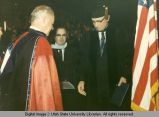 President Daryl Chase and Arthur Larson at commencement ceremonies, 1967