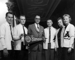 Student body officers present USU pennant to Hawaii governor, 1959-60