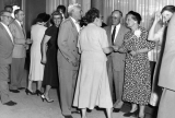 President Henry Aldous Dixon and his wife Lucile Dixon greeting guests at a reception in the...