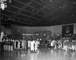 Agathon inside the George Nelson Fieldhouse, circa 1954