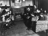 Students in the living room of the Home Management house, 1928