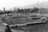 Halftime performance at Homecoming in Romney Stadium, 1950s