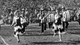 USU Band and performers at Romney Stadium, 1950s