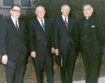 R. Gaurth Hansen, J. George Harrar, USU President Glen L. Taggart, and Reverend Theodore M....