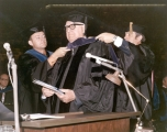 Honarary hooding of J. George Harrar