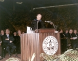 USU President Glen L. Taggart speaking at the 1971 June Commencement
