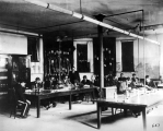 Identifying plants in the Agricultural/Botanical Laboratory classroom, circa 1896