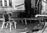 Semi-Centennial celebration preparations for opening the Old Main cornerstone, 1938