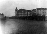 Military cadet corps in formation south of Old Main, 1902