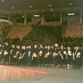 Graduates standing at Commencement exercises, circa 1971