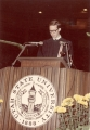 Young man speaking at Commencement exercises, early 1970s