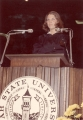 Young woman speaking at Commencement exercises, early 1970s