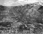 Aerial view of campus looking east towards Logan Canyon, 1962