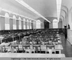 Interior view of the Merrill Library reading room, 1950s