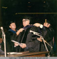 George Harrar during hooding ceremony, 1971