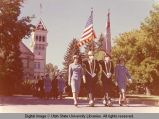 Military Color Guard leading commencement procession, 1960s