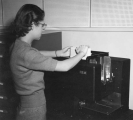 Young woman in Computer Center, 1950s