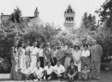 Iranian students posing with University President Daryl Chase on the lawn of the President's...