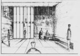 Architect's sketch of the Bacteriology Building
