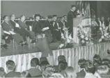 Bolivian President Rene Barrientos addressing a special convocation after receiving an honorary...