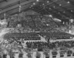 View of the interior of the George Nelson Fieldhouse looking south, during Commencement