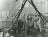Group of seven people working in the College Dairy